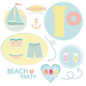 Elements of a summer holiday on the beach vector background — Stock Vector