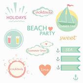 Cute elements, labels, logos, summer holiday vector — Stock Vector