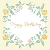 Vintage floral card with inscription happy birthday — Stock Vector