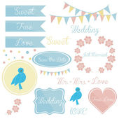 Cute wedding invitations set of elements for — Stock Vector