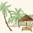 Two deck chairs under the palms with hammock — Stock Photo #47482749
