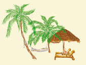 Two deck chairs under the palms with hammock — Zdjęcie stockowe