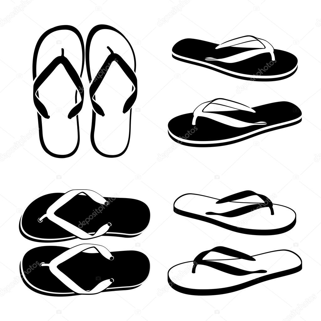 Beach Sandals Drawing Flip Flops Isolated on a White