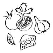 Collection of hand-drawn vegetables — Stock Vector