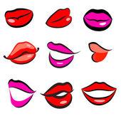 Print of red lips. Vector — Stock Vector