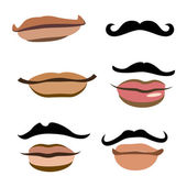 Collection of men mouths — Stock Vector