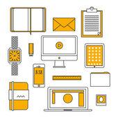 Design plat mince ligne icônes définies — Vecteur