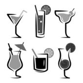 Different kinds of glasses with aperitifs — Stock Vector