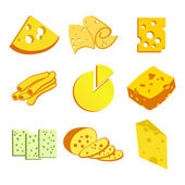Whole cheese blocks and slices assortment doodle food icons set vecto — Stock Vector
