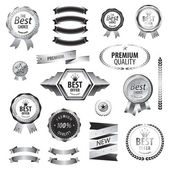Luxury SILVER premium quality best choice labels set isolated vector illustration  — Stock Vector