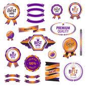Luxury orange premium quality best choice labels set isolated vector illustration  — Stock Vector