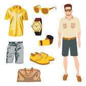 Hipster personaggio pack per ragazzo geek con il vettore di abbigliamento accessorio — Vettoriale Stock