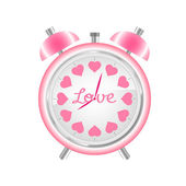 Vector pink alarm clock — Stock Vector
