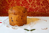 Christmas italian fruit-cake panettone. — Stock Photo