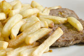 Beefsteak and french fries — Zdjęcie stockowe