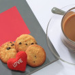 Coffee and Cookies with Books for Valentine day — Stock Photo #48101551