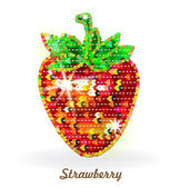 Strawberry embroidered with sequins — Stock Vector
