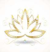 Gold and diamond lotus flower — Stock Vector