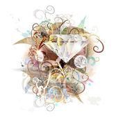 Diamond vector floral background — Stock Vector