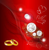 Abstract smoked background with diamonds and wedding rings — Vecteur