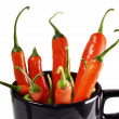 Chili peppers in cup — Stock Photo