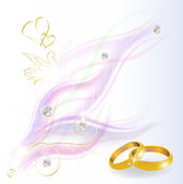 Abstract smoked background with diamonds and wedding rings — Stock Vector
