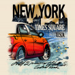Painted red car on a night in New York. USA. Drawing hand. Rain, puddle, splashing water. Pencil drawing and watercolor. City landscape. A vivid illustration on a old beige background. Urban style — Stock Photo #43215939