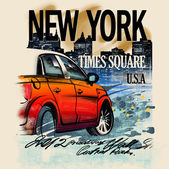 Painted red car on a night in New York. USA. Drawing hand. Rain, puddle, splashing water. Pencil drawing and watercolor. City landscape. A vivid illustration on a old beige background. Urban style — Stock Photo