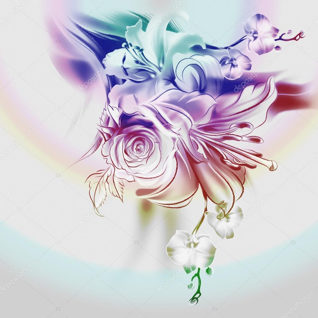 Flores dibujadas a lápiz y acuarela sobre papel viejo. rosas, lirios y orquídeas. elegante estilo vintage. con líneas suaves y finas. plantilla para