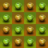 Sleek high gloss apple close-up on a brown and green background — Stock Photo