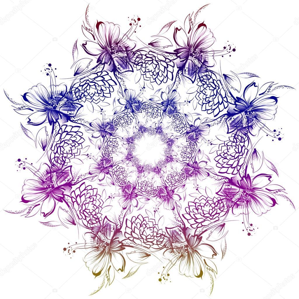 I fiori disegno con la semplice matita e carbone su carta for Disegni di fiori a matita