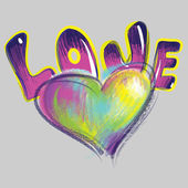 Heart and word love drawn with colored chalk — Foto de Stock