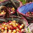 Cherry in basket — Stock Photo