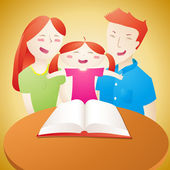 Family read book — Stock Vector
