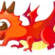 Cute cartoon red dragon — Stock Vector