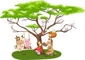 Wild animals near the big tree — Stock Vector