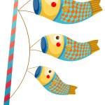 Japanese koi carp windsocks — Stock Vector #43420619