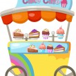 Cart stall and a cupcake — Stock Vector