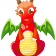 Cute cartoon red dragon — Stock Vector #43421123
