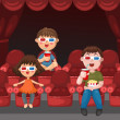 Kids watching a movie with 3d glasses — Stock Vector #43424151