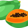 Illustration papaya — Stock Vector