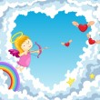 Cupid in the clouds — Stock Vector