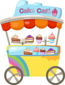 Cart stall and a cupcake — Vettoriale Stock