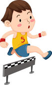 Boy jumping hurdle — Stock Vector
