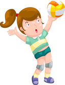 Young Girl playing volleyball — Stock vektor