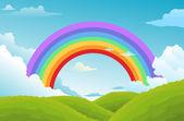 Regenboog en wolken in de hemel — Stockvector