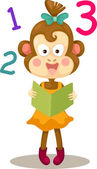 猿は本を読んで — ストックベクタ