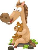 Horse with bear — Stock Vector