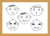 Different facial expressions of a boy blackboard — Stock Vector