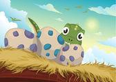 Beautiful Cartoon dinosaur and egg — Stock Vector